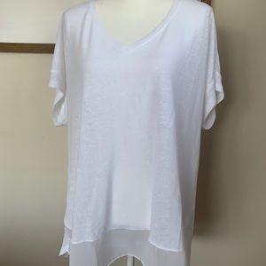 semi-sheer white plus size blouse